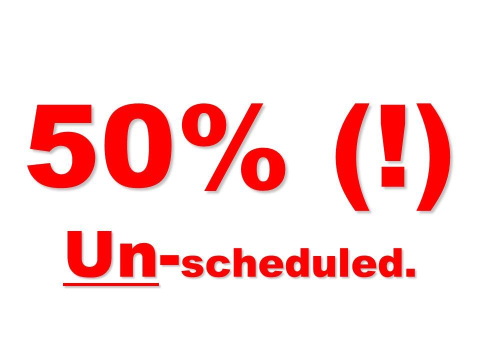 50% (!) Un- scheduled.