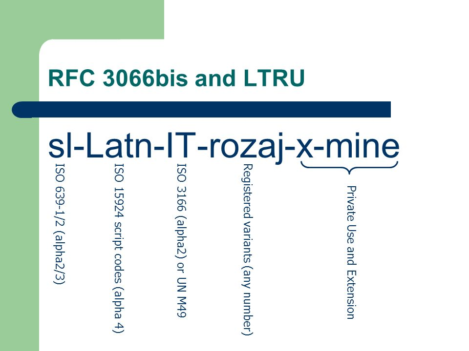 RFC 3066bis and LTRU sl-Latn-IT-rozaj-x-mine ISO 639-1/2 (alpha2/3)ISO 15924 script codes (alpha 4)ISO 3166 (alpha2) or UN M49Registered variants (any number) Private Use and Extension