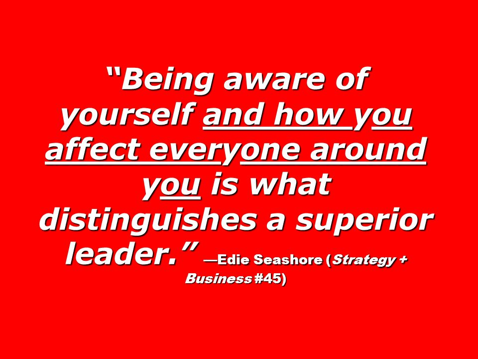 Being aware of yourself and how you affect everyone around you is what distinguishes a superior leader. Edie Seashore (Strategy + Business #45)