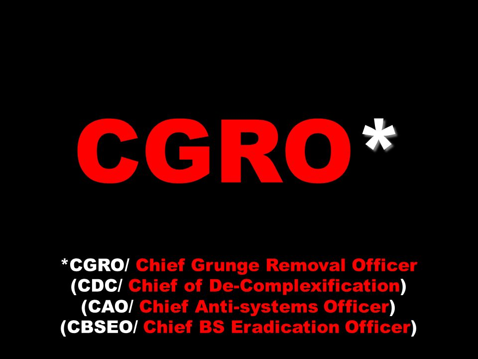 * CGRO* *CGRO/ Chief Grunge Removal Officer (CDC/ Chief of De-Complexification) (CAO/ Chief Anti-systems Officer) (CBSEO/ Chief BS Eradication Officer