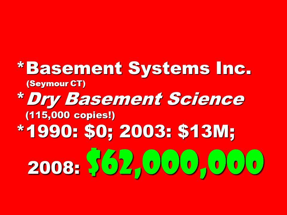 *Basement Systems Inc. (Seymour CT) *Dry Basement Science (115,000 copies!) *1990: $0; 2003: $13M; 2008: $62,000,000