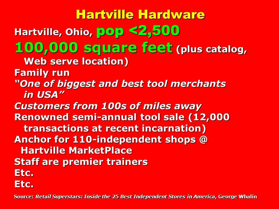 Hartville Hardware Hartville, Ohio, pop <2,500 100,000 square feet (plus catalog, Web serve location) Family run One of biggest and best tool merchant