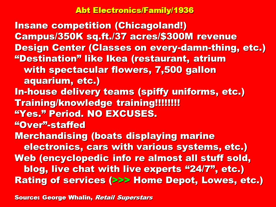 Abt Electronics/Family/1936 Insane competition (Chicagoland!) Campus/350K sq.ft./37 acres/$300M revenue Design Center (Classes on every-damn-thing, et