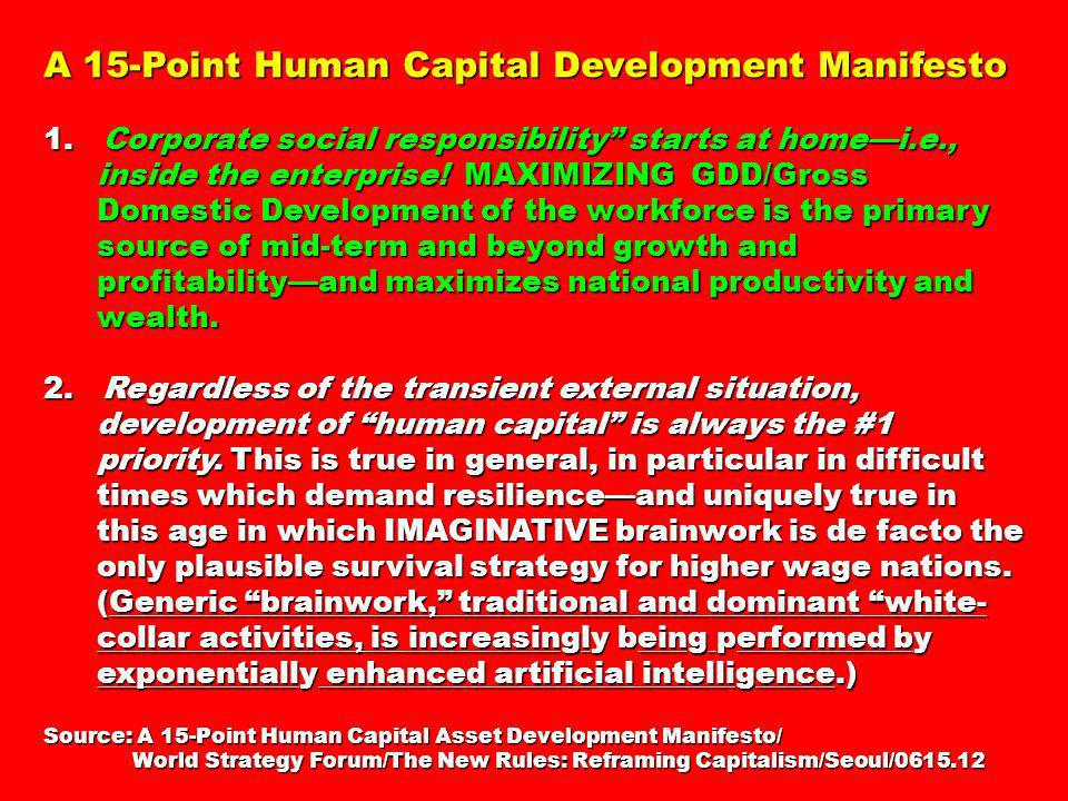 A 15-Point Human Capital Development Manifesto 1. Corporate social responsibility starts at homei.e., inside the enterprise! MAXIMIZING GDD/Gross Dome