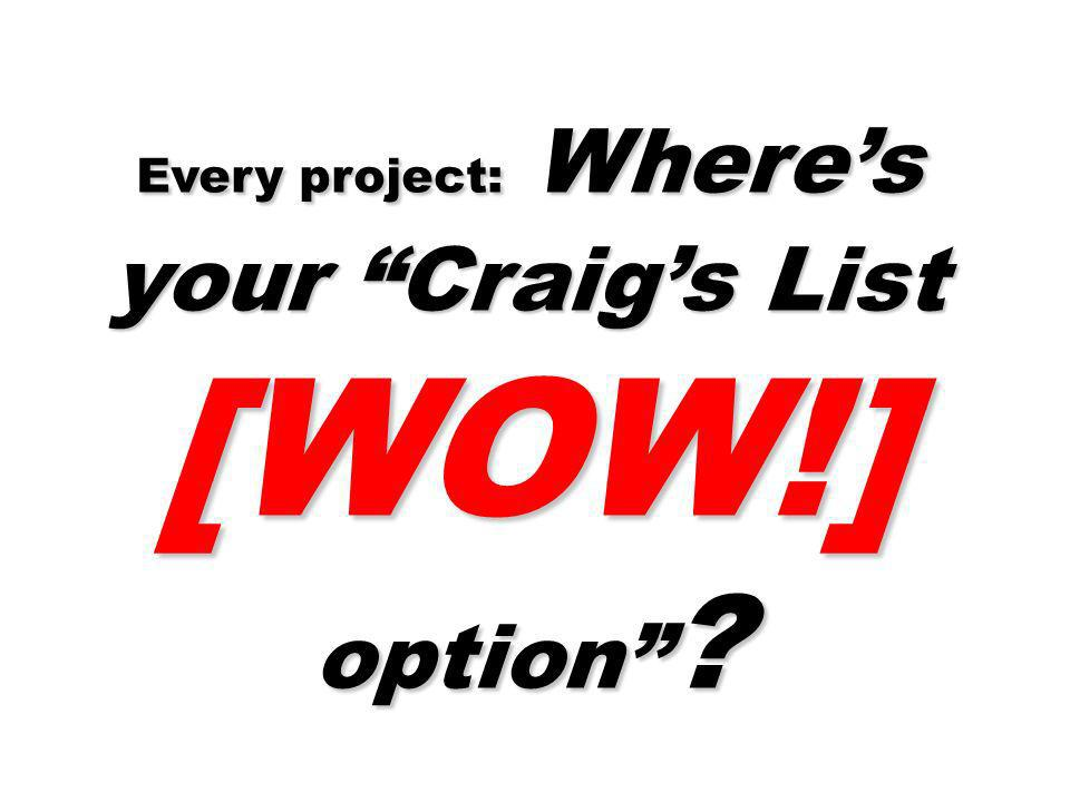 Every project: Wheres your Craigs List [WOW!] option ?