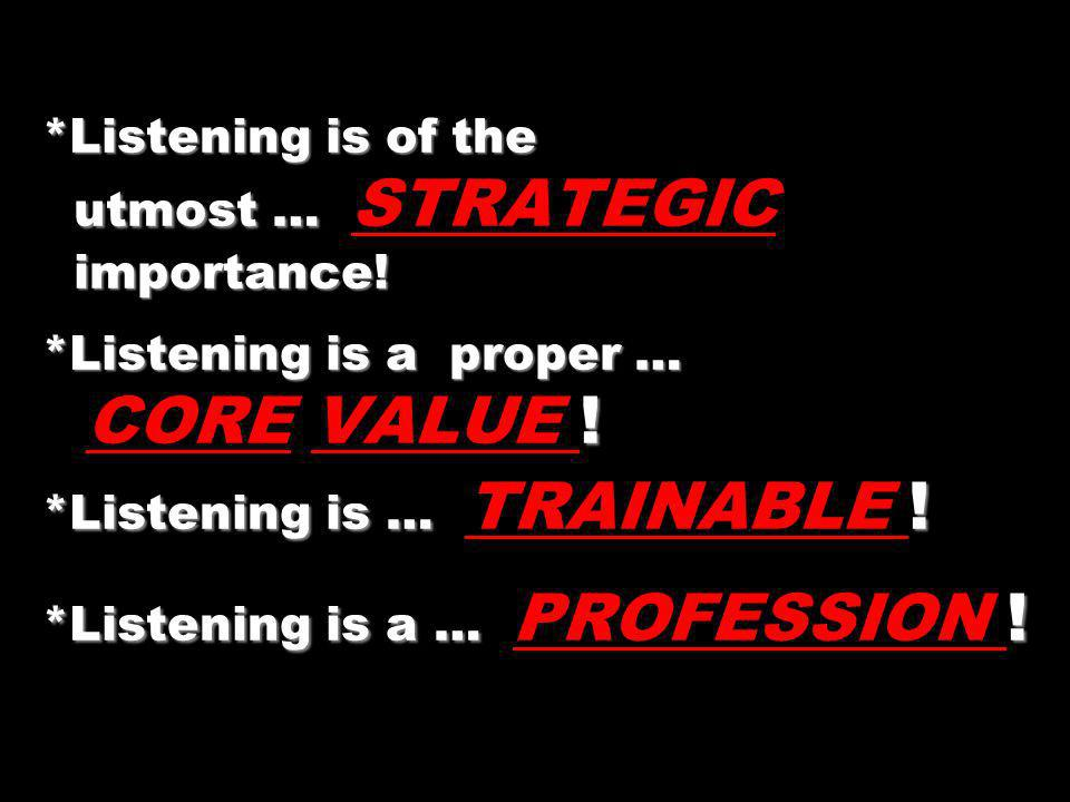 *Listening is of the utmost … importance! *Listening is a proper … ! *Listening is … ! *Listening is a … ! *Listening is of the utmost … STRATEGIC imp