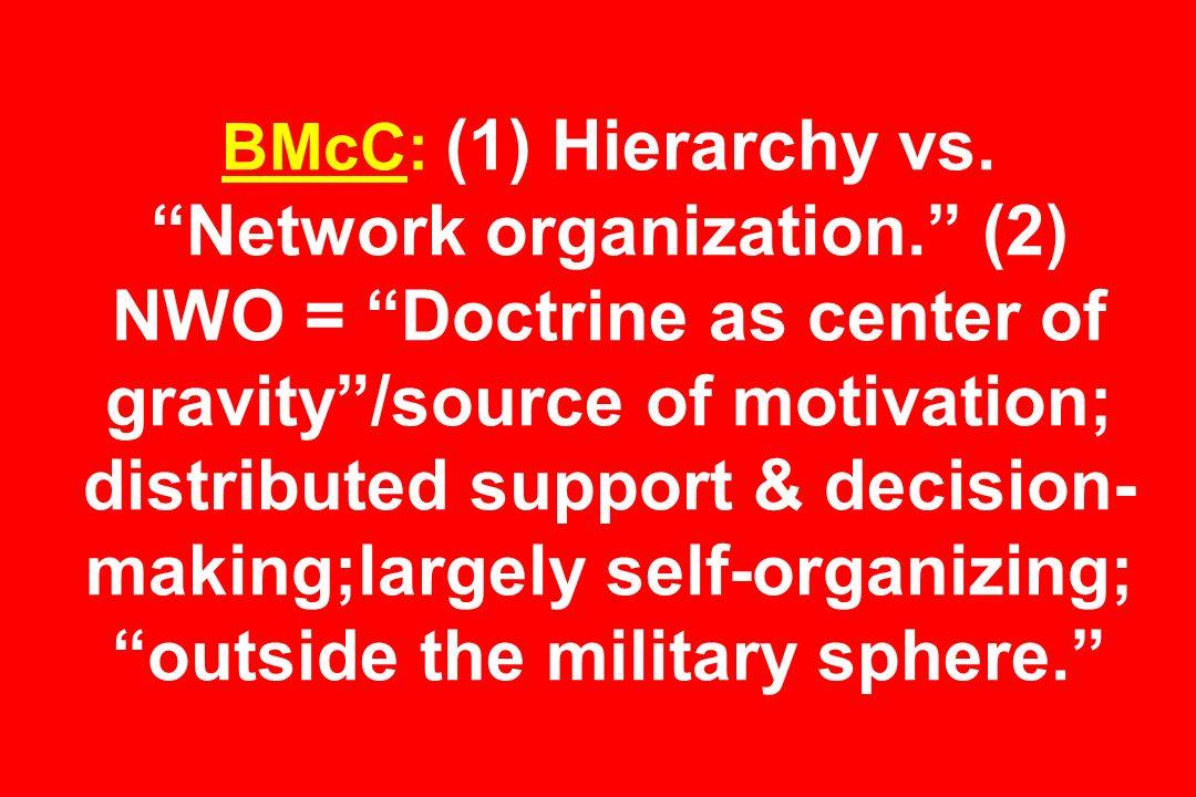 BMcC: (1) Hierarchy vs.Network organization.