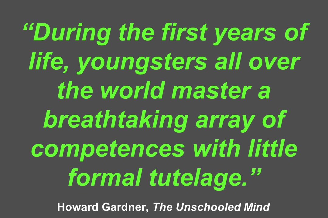 During the first years of life, youngsters all over the world master a breathtaking array of competences with little formal tutelage.