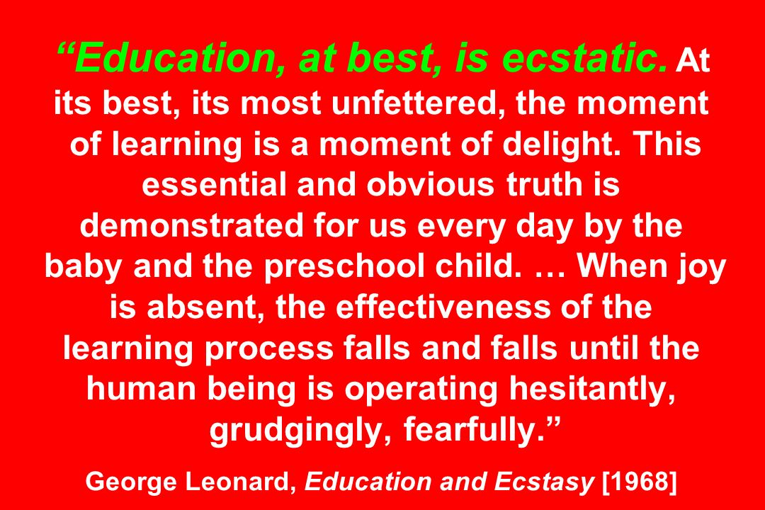 Education, at best, is ecstatic. At its best, its most unfettered, the moment of learning is a moment of delight. This essential and obvious truth is