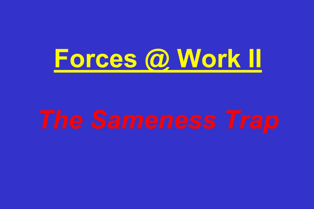 Forces @ Work II The Sameness Trap