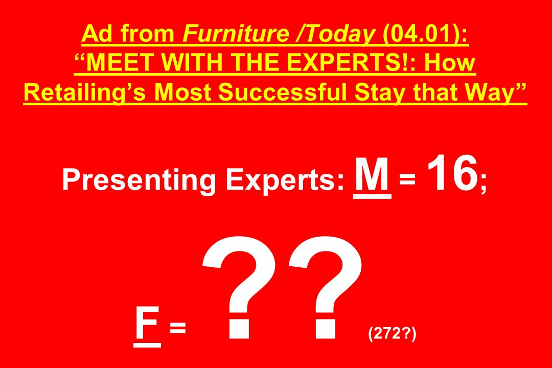 Ad from Furniture /Today (04.01): MEET WITH THE EXPERTS!: How Retailings Most Successful Stay that Way Presenting Experts: M = 16 ; F = ?? (272?)