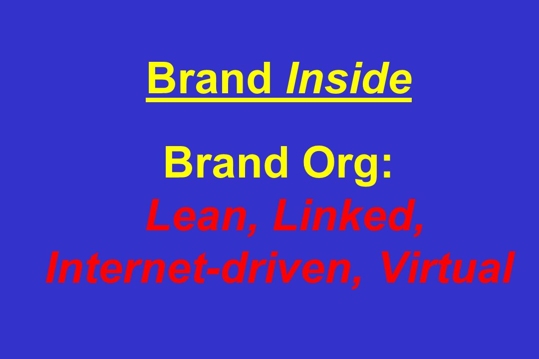 Brand Inside Brand Org: Lean, Linked, Internet-driven, Virtual
