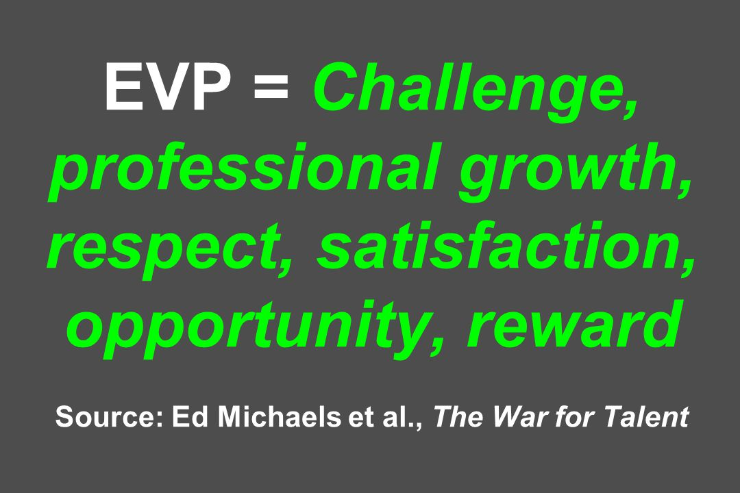 EVP = Challenge, professional growth, respect, satisfaction, opportunity, reward Source: Ed Michaels et al., The War for Talent