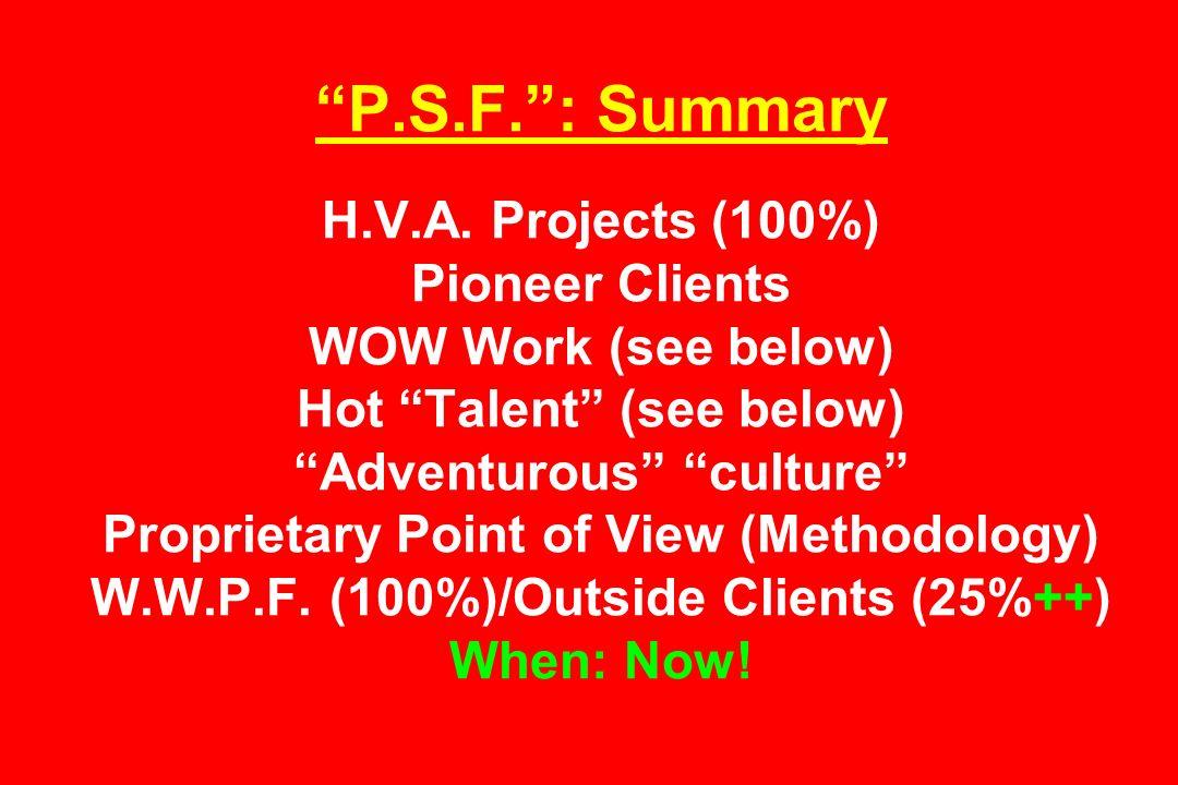P.S.F.: Summary H.V.A.