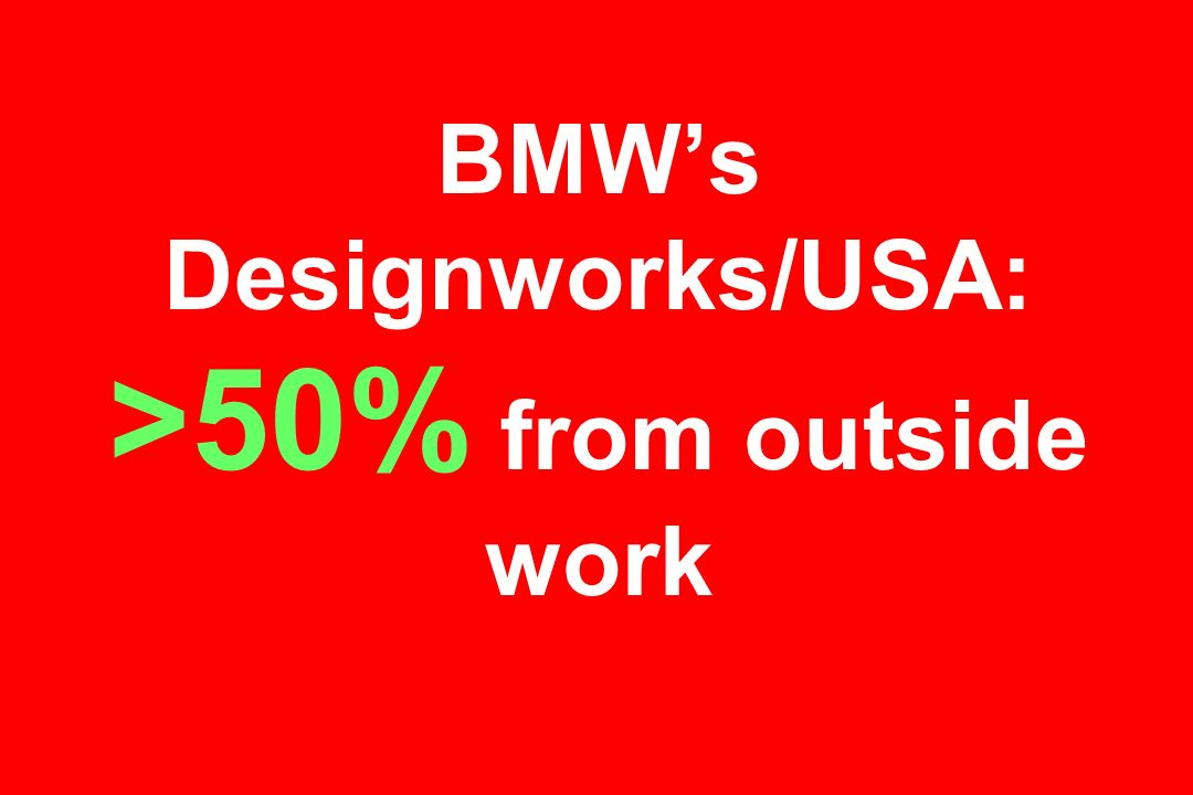 BMWs Designworks/USA: >50% from outside work