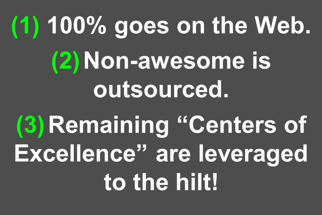 (1) 100% goes on the Web.(2) Non-awesome is outsourced.