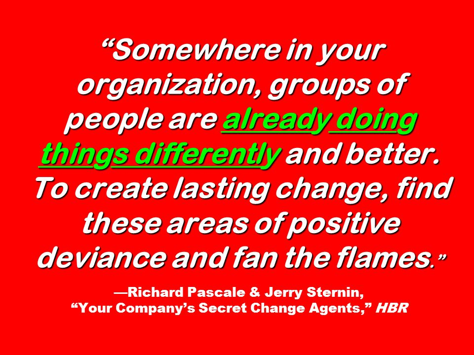 Somewhere in your organization, groups of people are already doing things differently and better. To create lasting change, find these areas of positi