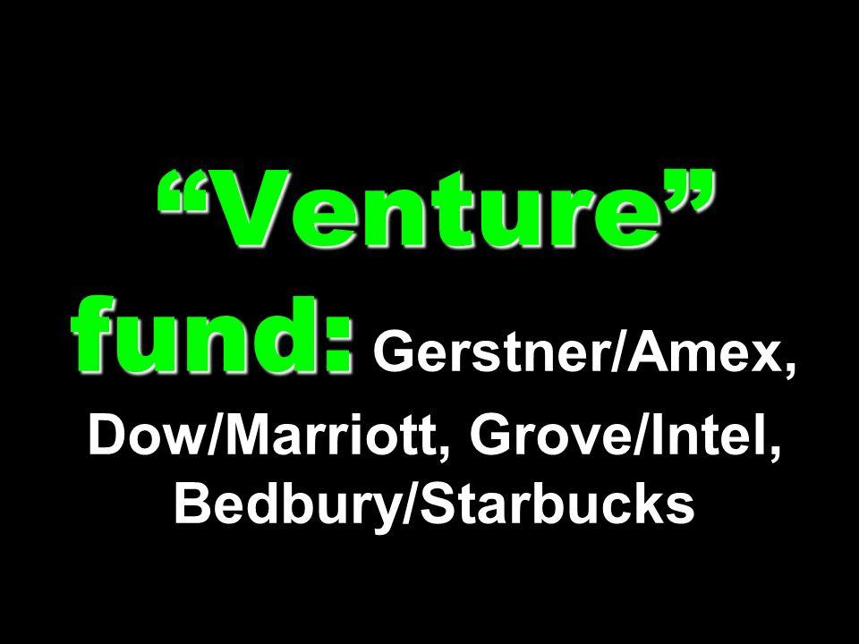 Venture fund: Venture fund: Gerstner/Amex, Dow/Marriott, Grove/Intel, Bedbury/Starbucks