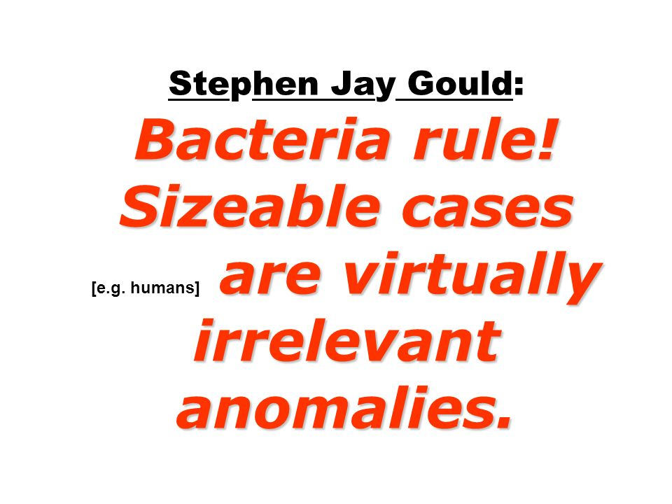 Bacteria rule! Sizeable cases are virtually irrelevant anomalies. Stephen Jay Gould: Bacteria rule! Sizeable cases [e.g. humans] are virtually irrelev