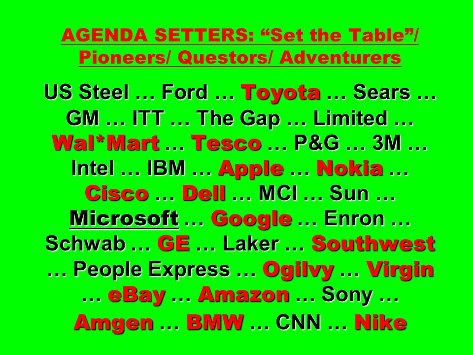 US Steel … Ford … Toyota … Sears … GM … ITT … The Gap … Limited … Wal*Mart … Tesco … P&G … 3M … Intel … IBM … Apple … Nokia … Cisco … Dell … MCI … Sun