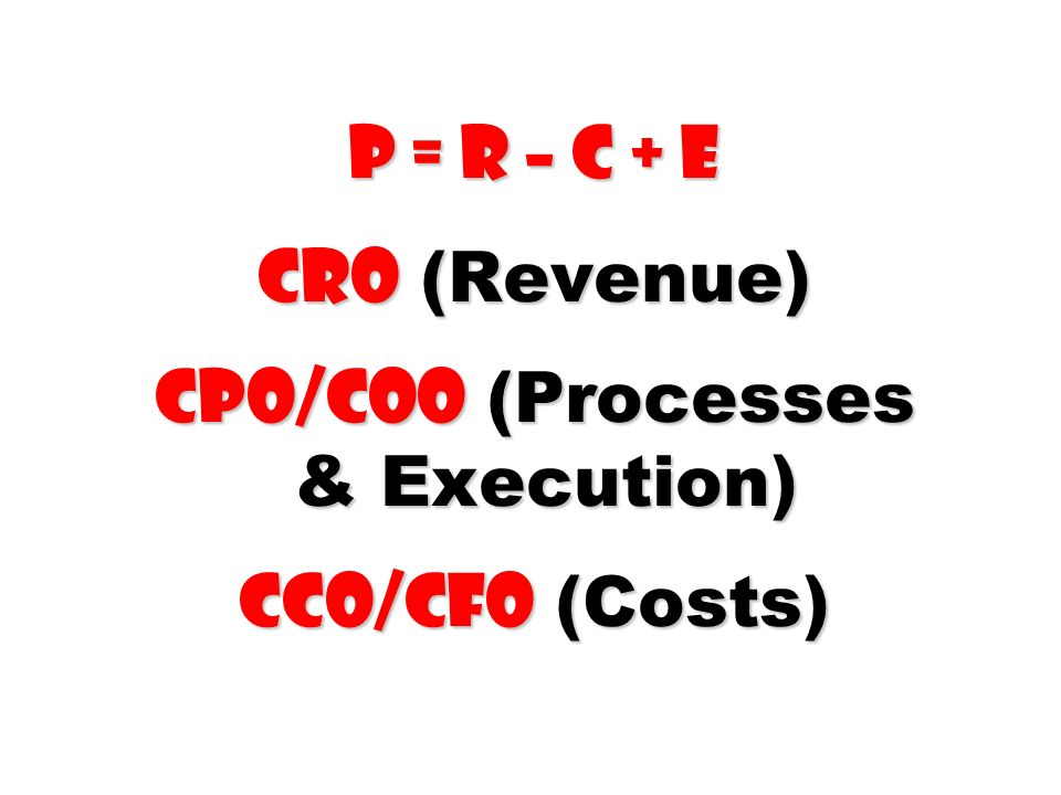 P = R – C + E CRO (Revenue) CPO/COO (Processes & Execution) CCO/CFO (Costs)