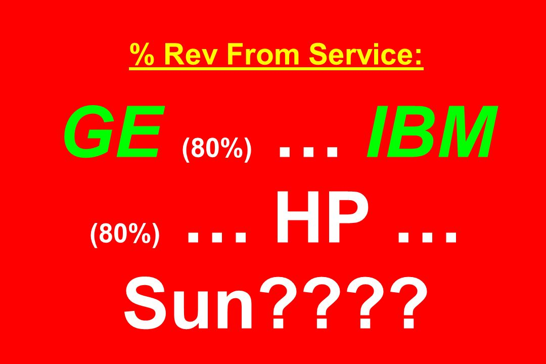 % Rev From Service: GE (80%) … IBM (80%) … HP … Sun????