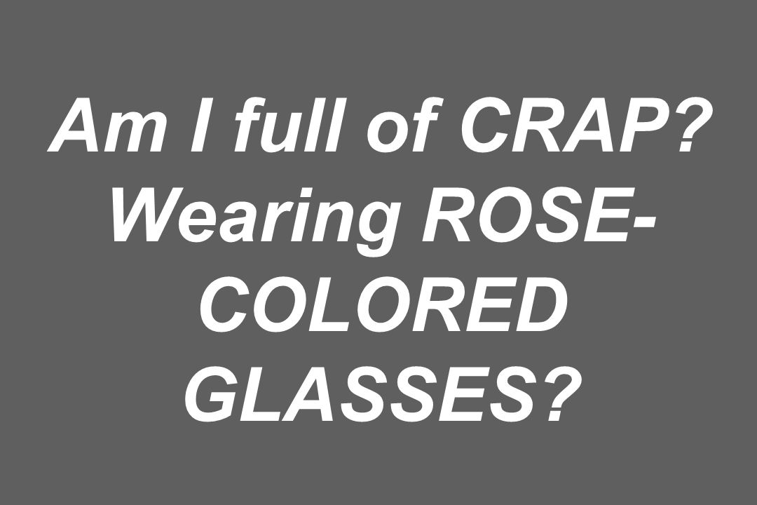 Am I full of CRAP? Wearing ROSE- COLORED GLASSES?