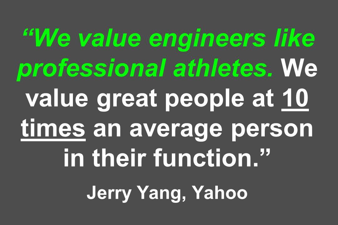 We value engineers like professional athletes.