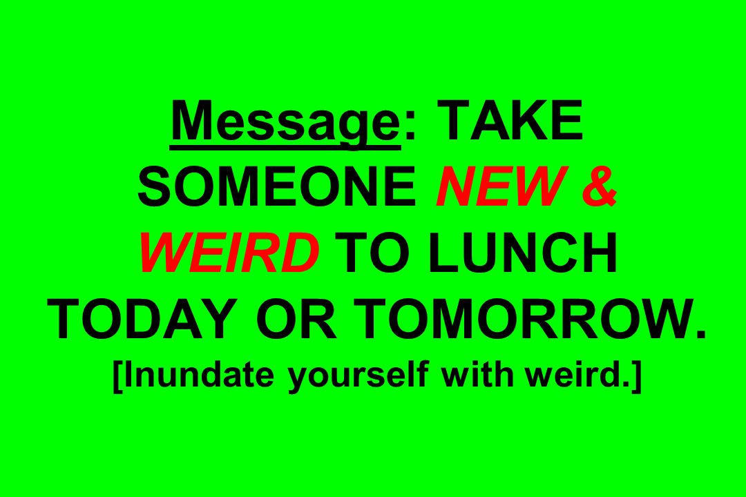 Message: TAKE SOMEONE NEW & WEIRD TO LUNCH TODAY OR TOMORROW. [Inundate yourself with weird.]