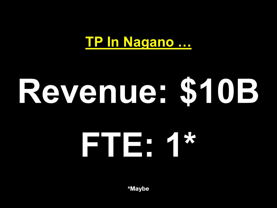 TP In Nagano … Revenue: $10B FTE: 1* *Maybe