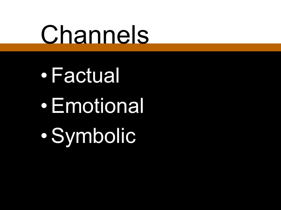 Channels Factual Emotional Symbolic