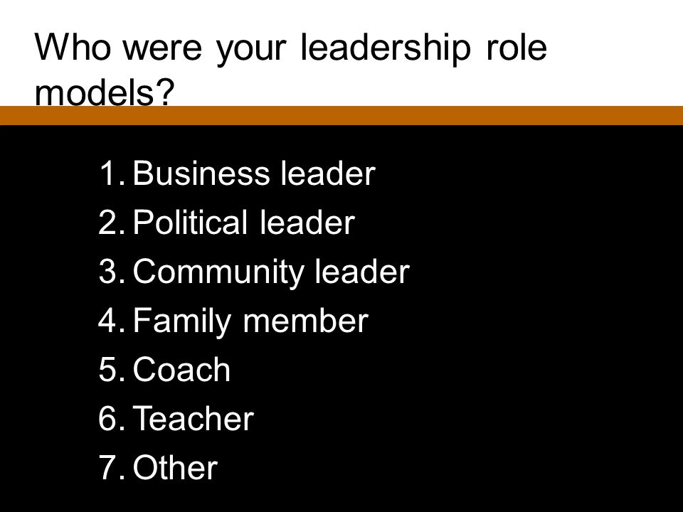 Who were your leadership role models? 1.Business leader 2.Political leader 3.Community leader 4.Family member 5.Coach 6.Teacher 7.Other