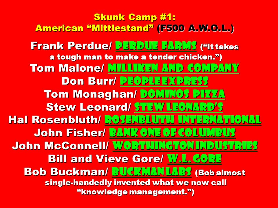 Skunk Camp #1: American Mittlestand (F500 A.W.O.L.) Frank Perdue/ Perdue Farms (It takes a tough man to make a tender chicken.) a tough man to make a tender chicken.) Tom Malone/ Milliken and Company Don Burr/ People Express Tom Monaghan/ Dominos Pizza Stew Leonard/ Stew Leonards Hal Rosenbluth/ Rosenbluth International John Fisher/ Bank One of Columbus John McConnell/ Worthington Industries Bill and Vieve Gore/ W.L.