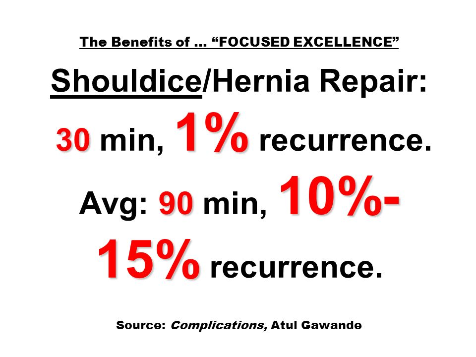 30 1% 90 10%- 15% The Benefits of … FOCUSED EXCELLENCE Shouldice/Hernia Repair: 30 min, 1% recurrence.