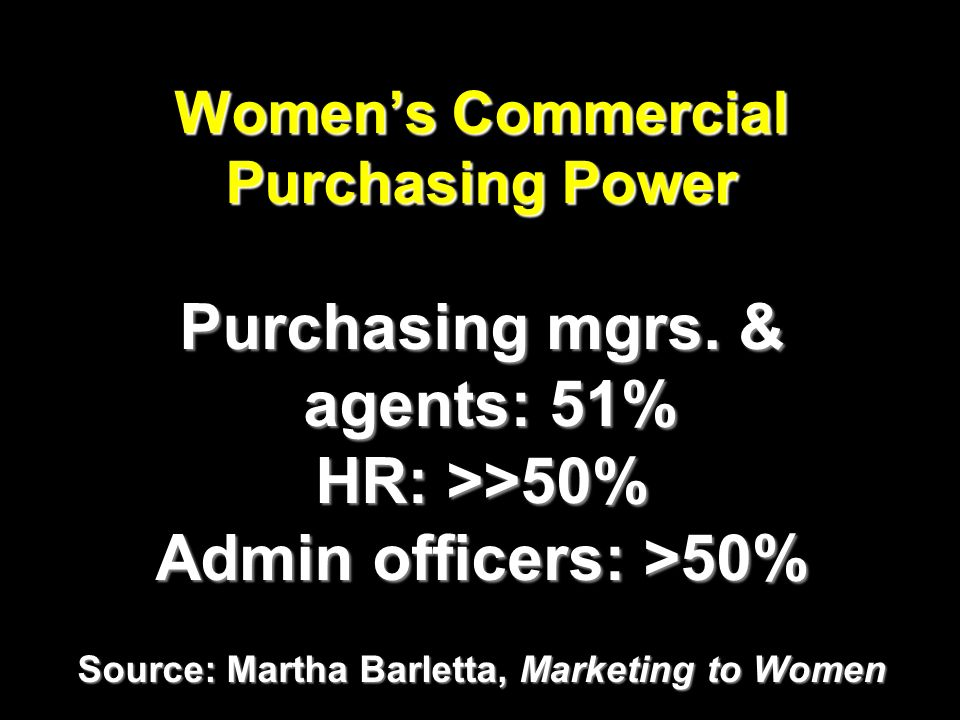 Womens Commercial Purchasing Power Purchasing mgrs.
