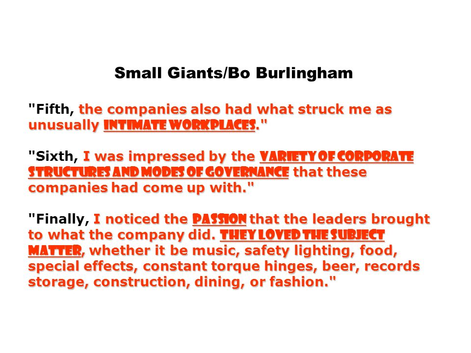 Small Giants/Bo Burlingham the companies also had what struck me as unusually intimate workplaces. I was impressed by the variety of corporate structures and modes of governance that these companies had come up with. I noticed the passion that the leaders brought to what the company did.
