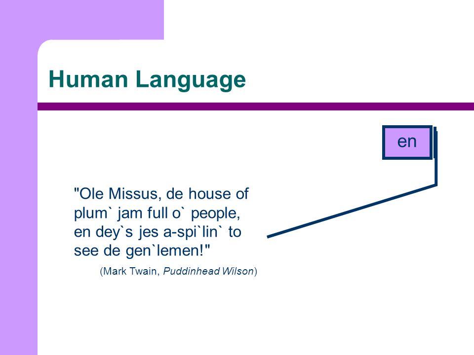 Human Language Ole Missus, de house of plum` jam full o` people, en dey`s jes a-spi`lin` to see de gen`lemen! (Mark Twain, Puddinhead Wilson) en