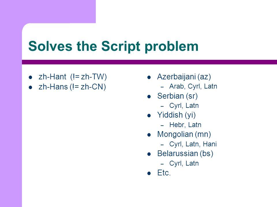 Solves the Script problem zh-Hant (!= zh-TW) zh-Hans (!= zh-CN) Azerbaijani (az) – Arab, Cyrl, Latn Serbian (sr) – Cyrl, Latn Yiddish (yi) – Hebr, Latn Mongolian (mn) – Cyrl, Latn, Hani Belarussian (bs) – Cyrl, Latn Etc.