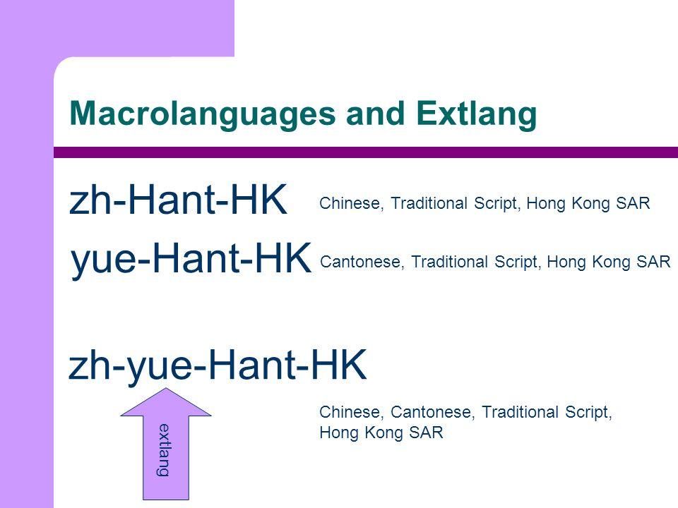 Macrolanguages and Extlang zh-Hant-HK Chinese, Traditional Script, Hong Kong SAR yue-Hant-HK Cantonese, Traditional Script, Hong Kong SAR zh-yue-Hant-HK Chinese, Cantonese, Traditional Script, Hong Kong SAR extlang