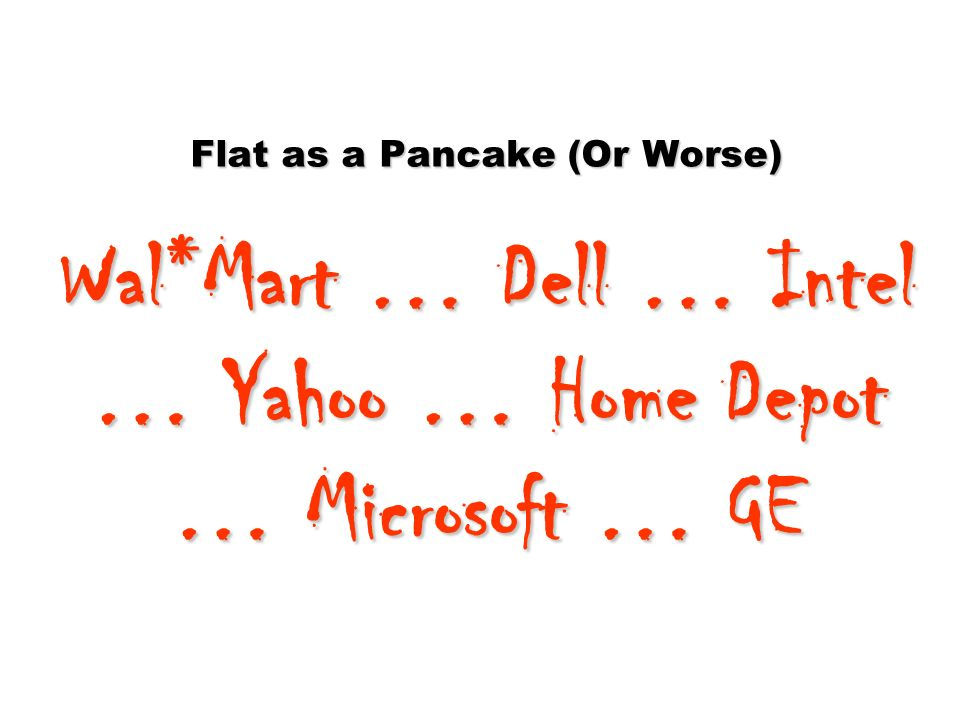 Flat as a Pancake (Or Worse) Wal*Mart … Dell … Intel … Yahoo … Home Depot … Microsoft … GE