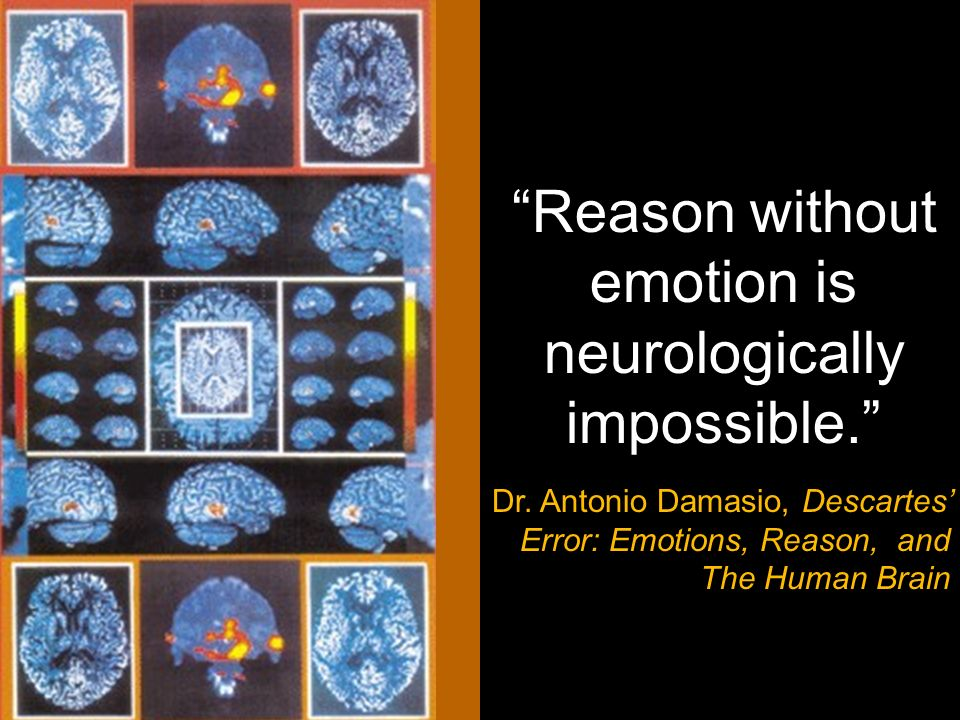 Reason without emotion is neurologically impossible. Dr. Antonio Damasio, Descartes Error: Emotions, Reason, and The Human Brain