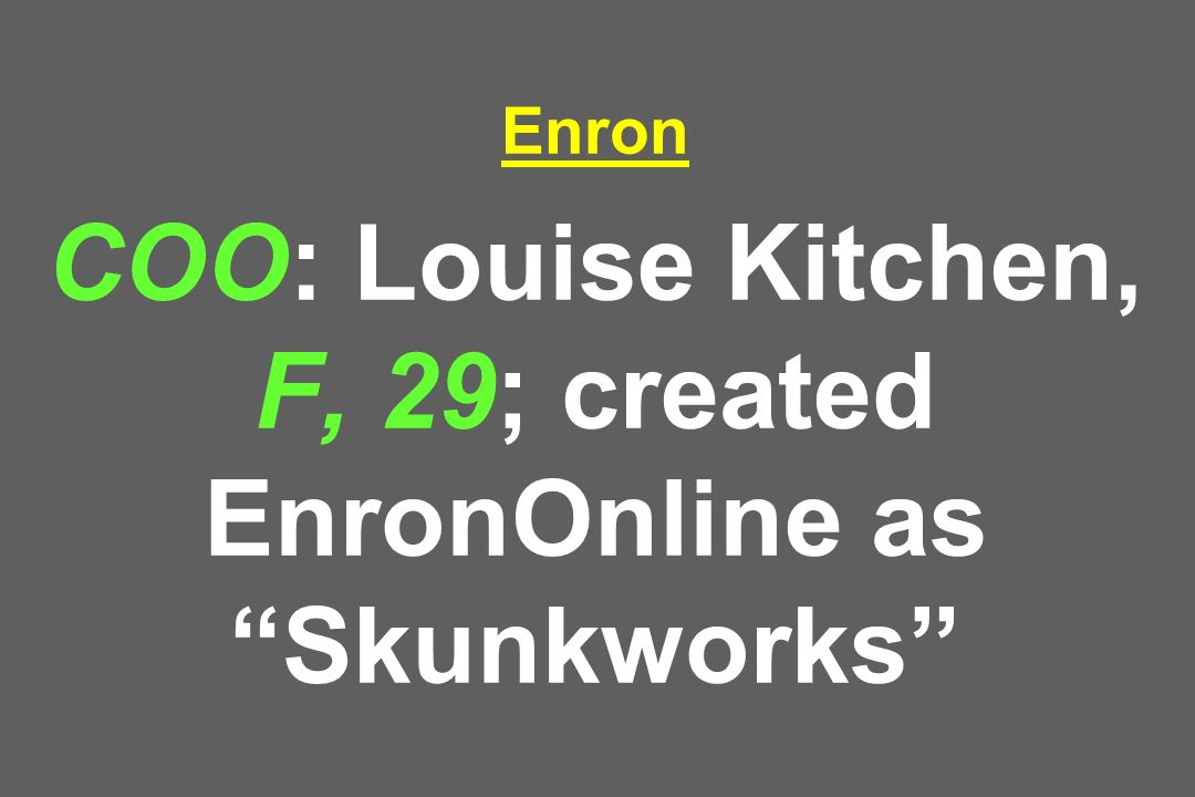 Enron COO: Louise Kitchen, F, 29; created EnronOnline as Skunkworks