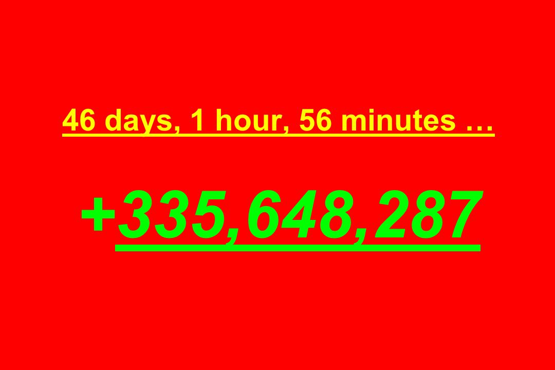 46 days, 1 hour, 56 minutes … +335,648,287