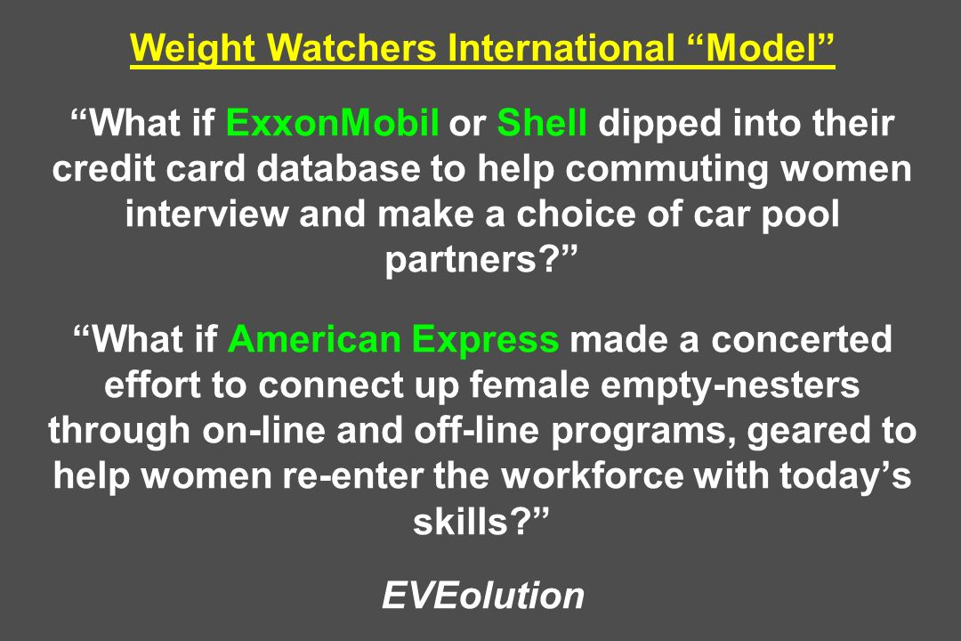 Weight Watchers International Model What if ExxonMobil or Shell dipped into their credit card database to help commuting women interview and make a choice of car pool partners.