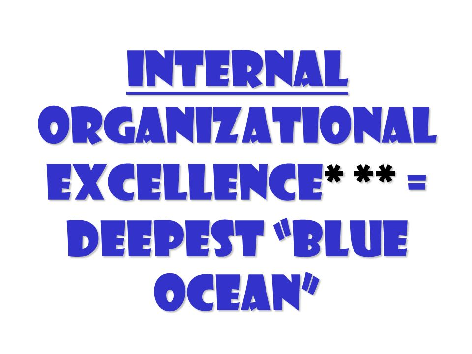 Internal organizational excellence* ** = Deepest Blue Ocean
