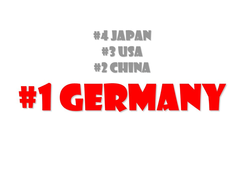 #4 Japan #3 USA #2 China #1 Germany