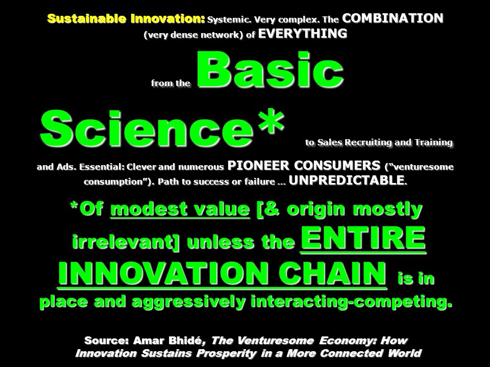 Sustainable Innovation: Systemic. Very complex.