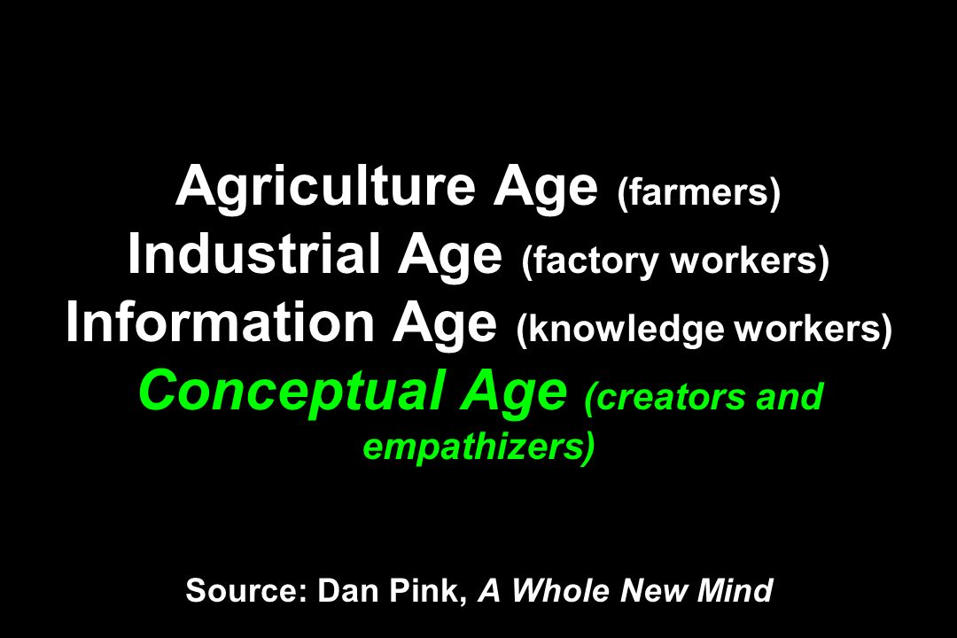Agriculture Age (farmers) Industrial Age (factory workers) Information Age (knowledge workers) Conceptual Age (creators and empathizers) Source: Dan P