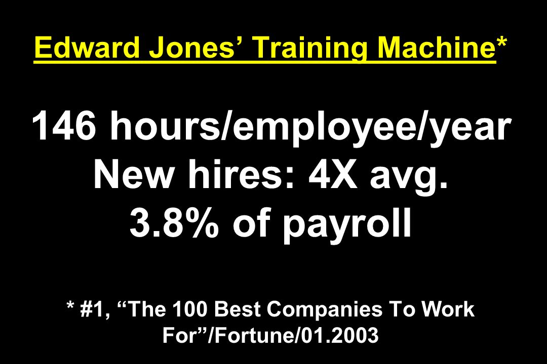 Edward Jones Training Machine* 146 hours/employee/year New hires: 4X avg. 3.8% of payroll * #1, The 100 Best Companies To Work For/Fortune/01.2003