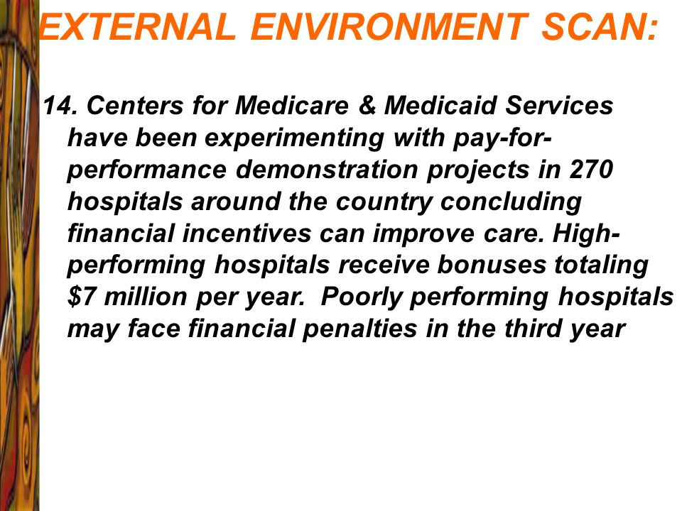 EXTERNAL ENVIRONMENT SCAN: 14. Centers for Medicare & Medicaid Services have been experimenting with pay-for- performance demonstration projects in 27